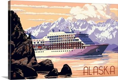 Alaska - Cruise Ship and Sunset: Retro Travel Poster