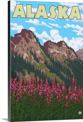 Alaska - Fireweed: Retro Travel Poster