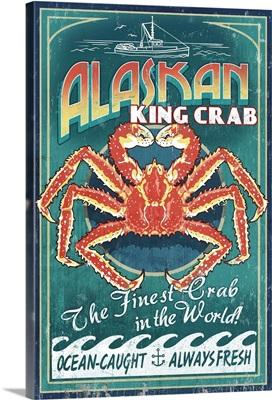 Alaska King Crab Vintage Sign: Retro Travel Poster