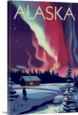 Alaska - Northern Lights and Cabin: Retro Travel Poster