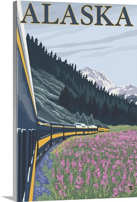 Alaska Railroad - Alaska: Retro Travel Poster