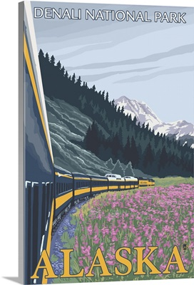 Alaska Railroad Scene - Denali National Park, Alaska: Retro Travel Poster