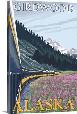 Alaska Railroad Scene - Girdwood, Alaska: Retro Travel Poster