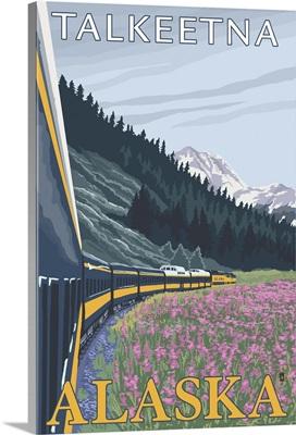 Alaska Railroad Scene - Talkeetna, Alaska: Retro Travel Poster