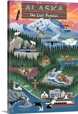 Alaska - Retro Scenes: Retro Travel Poster