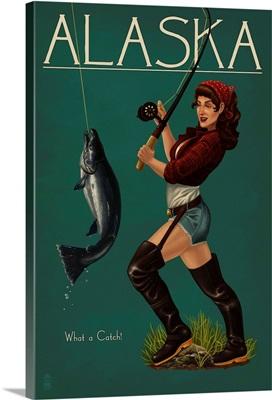 Alaska - Salmon Fisher Pinup Girl: Retro Travel Poster