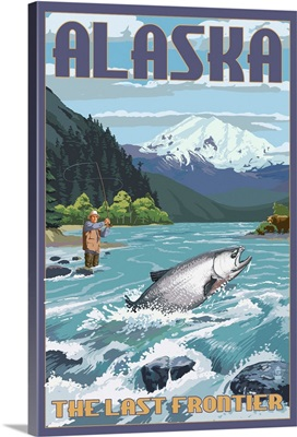 Alaska - Salmon Fisherman: Retro Travel Poster