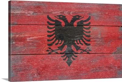 Albania Country Flag on Wood