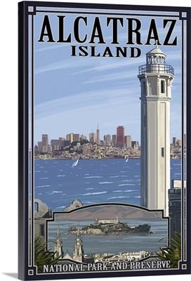 Alcatraz Island and City - San Francisco, CA: Retro Travel Poster