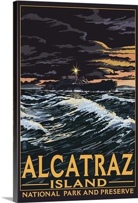 Alcatraz Island Night Scene - San Francisco, CA: Retro Travel Poster