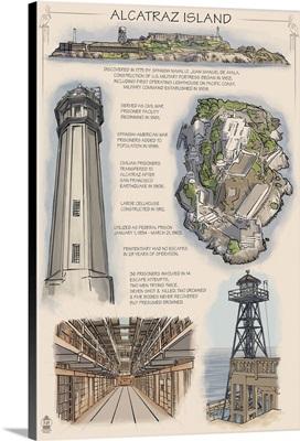 Alcatraz Island Technical - San Francisco, CA: Retro Travel Poster