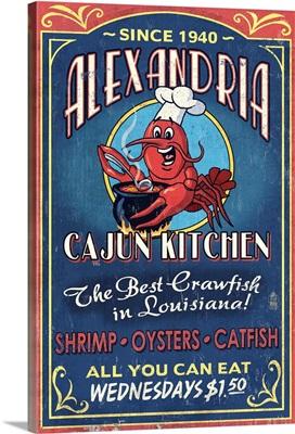 Alexandria, Louisiana, Cajun Kitchen Crawfish, Vintage Sign