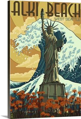 Alki Beach, West Seattle, WA - Lady Liberty Statue: Retro Travel Poster