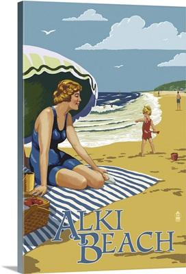 Alki Beach, West Seattle, WA - Woman on Beach: Retro Travel Poster