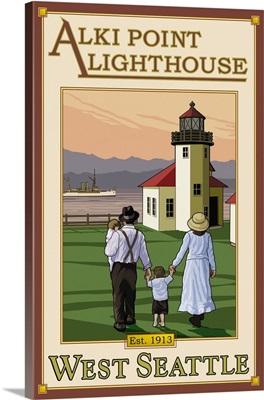 Alki Point Lighthouse: Retro Travel Poster