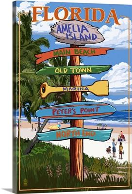 Amelia Island, Florida - Destinations Signpost: Retro Travel Poster