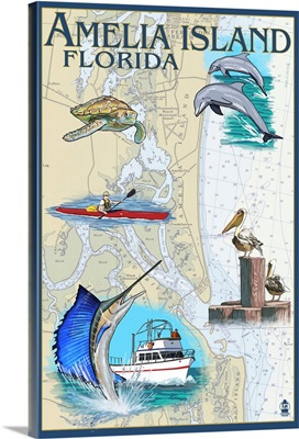 Amelia Island, Florida - Nautical Chart: Retro Travel Poster