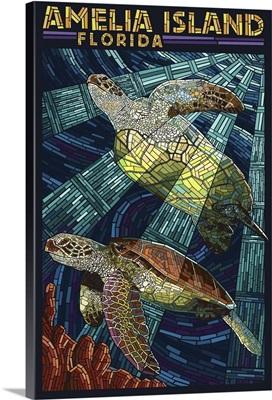 Amelia Island, Florida - Sea Turtle Mosiac: Retro Travel Poster