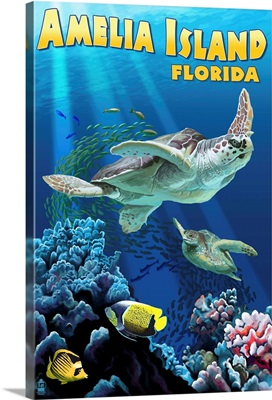 Amelia Island, Florida - Sea Turtle Swimming: Retro Travel Poster