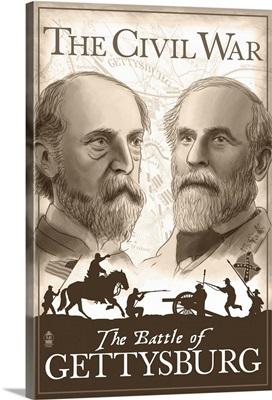 American Civil War - The Battle of Gettysburg: Retro Travel Poster