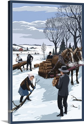 Amish Gathering Firewood Winter Scene