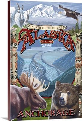 Anchorage, Alaska - North to the Future Montage: Retro Travel Poster