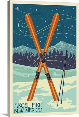 Angel Fire, New Mexico - Crossed Skis - Letterpress: Retro Travel Poster