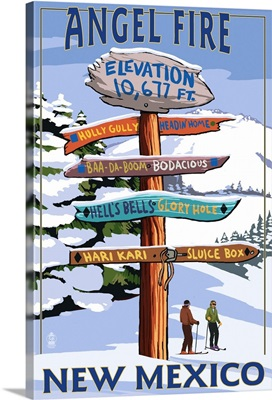 Angel Fire, New Mexico - Destinations Signpost: Retro Travel Poster