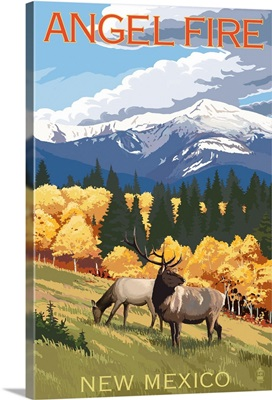 Angel Fire, New Mexico - Elk and Mountains: Retro Travel Poster