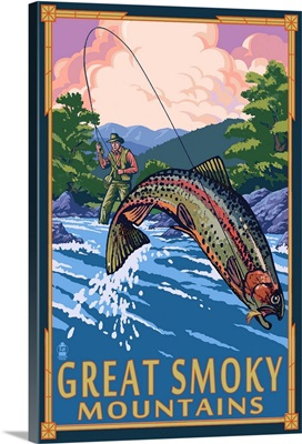 Angler Fly Fishing Scene - Great Smoky Mountains: Retro Travel Poster