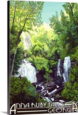 Anna Ruby Falls - Georgia: Retro Travel Poster