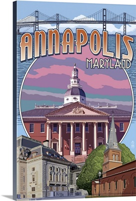 Annapolis, Maryland - Montage: Retro Travel Poster