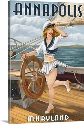 Annapolis, Maryland - Pinup Girl Sailing: Retro Travel Poster