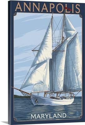 Annapolis, Maryland - Sailboat Scene: Retro Travel Poster