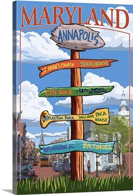Annapolis, Maryland - Sign Destinations: Retro Travel Poster