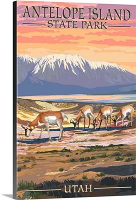 Antelope Island State Park, Utah - Antelope Scene: Retro Travel Poster