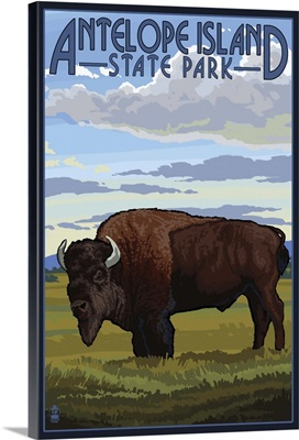 Antelope Island State Park, Utah - Bison and Field: Retro Travel Poster