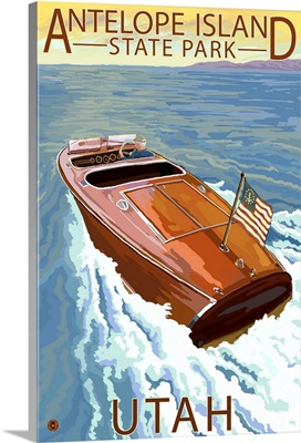Antelope Island State Park, Utah - Wooden Boat: Retro Travel Poster