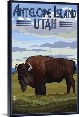 Antelope Island, Utah - Bison Scene: Retro Travel Poster