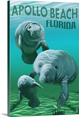 Apollo Beach, Florida - Manatees: Retro Travel Poster
