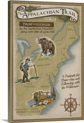 Appalachian Trail Map: Retro Travel Poster