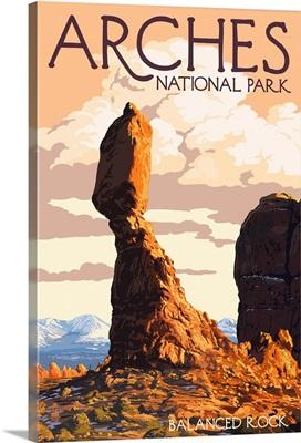 Arches National Park, Utah - Balanced Rock: Retro Travel Poster