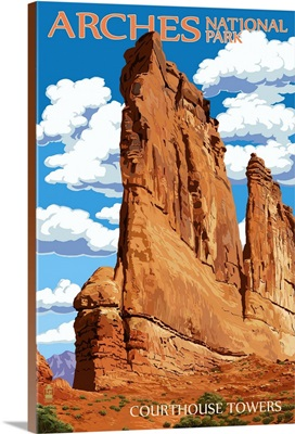 Arches National Park, Utah - Courthouse Towers: Retro Travel Poster