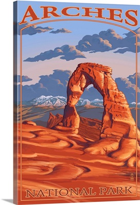 Arches National Park, Utah - Delicate Arch: Retro Travel Poster