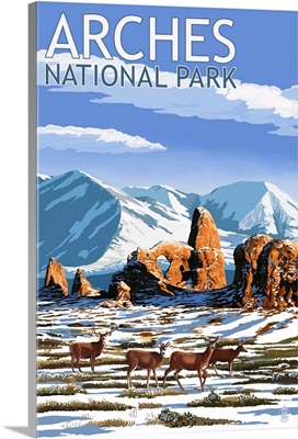Arches National Park, Utah - Turret Arch in Winter: Retro Travel Poster