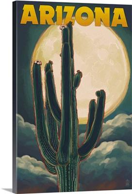Arizona Cactus and Full Moon: Retro Travel Poster