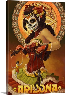 Arizona - Day of the Dead Marionettes: Retro Travel Poster
