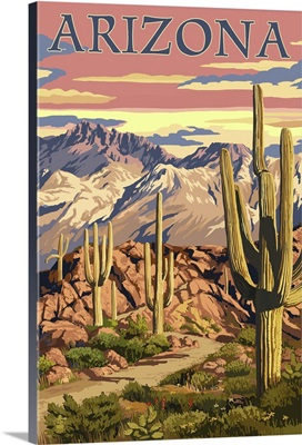 Arizona Desert Scene at Sunset: Retro Travel Poster