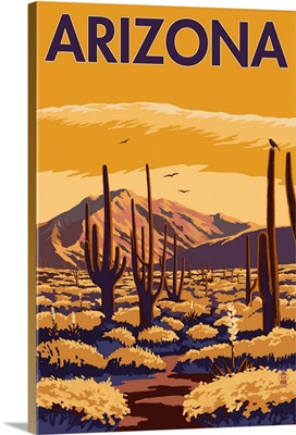 Arizona Desert Scene with Cactus: Retro Travel Poster