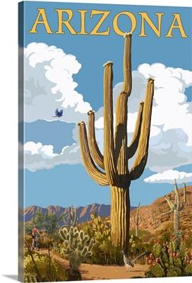 Arizona - Saguaro and Roadrunner: Retro Travel Poster